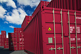 Cargo Containers on Sky Background.
