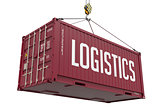 Logistics - burgundy Hanging Cargo Container.