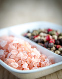 Pink himalayan salt and peppers