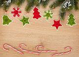 Christmas fir tree, candy cane and decor