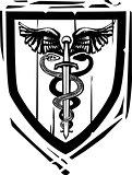 Heraldic Shield Sword Caduceus