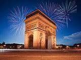 Arc de Triomphe, Paris lit up by Fireworks