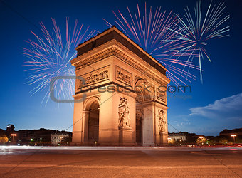 Arc de Triomphe, Paris lit up by Fireworks