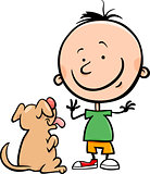 cute boy with dog cartoon illustration