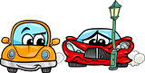 sports car crashed cartoon illustration