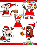 Santa and Christmas Themes Cartoon Set
