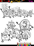 running fruits set cartoon coloring page