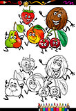 fruits group cartoon coloring page