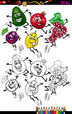 funny fruits cartoon coloring page