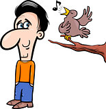 man and bird cartoon illustration