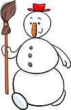 snowman with besom cartoon illustration