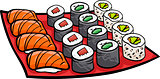sushi lunch cartoon illustration