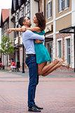 Outdoor portrait of beautiful romantic couple