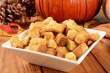 Pumpkin cornbread croutons