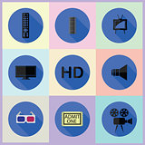 set of media flat icons