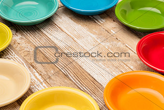 old wood and color bowls