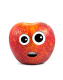 Funny fruit character Red Apple on white background