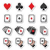 Playing cards, poker, gambling icons set