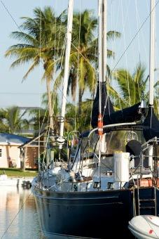 anchored sailing yacht