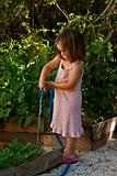 Young girl watering the vegtable garden