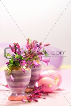 Egg cups with flower decorations