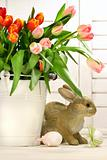 Rabbit hiding behind a container of tulips