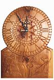 Clock carved on wood