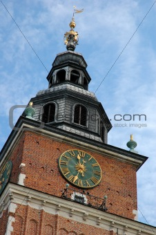 ancient clock at krakow cityhall tower