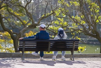 Old couple in bench