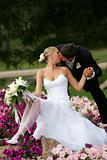 Beautiful newlyweds kissing