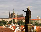Prague Castle With Statue