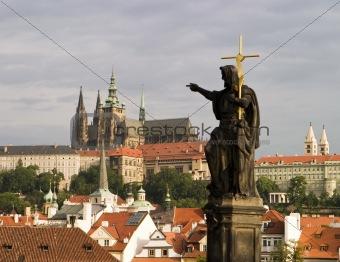 Prague Castle With Statue