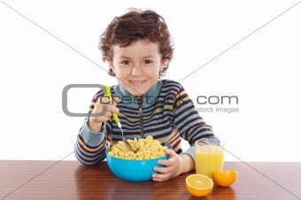 Child eating breakfast 