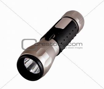 Aluminium flashlight isolated on white