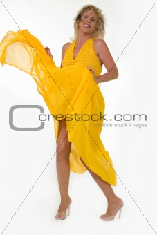 Blowing yellow dress