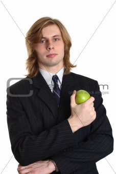 A businessman with an apple