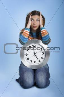 Clock Woman thinking