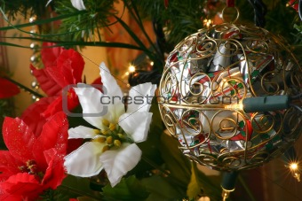 bauble and poinsettia