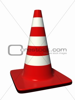 red and white cone