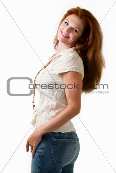 Attractive red hair woman