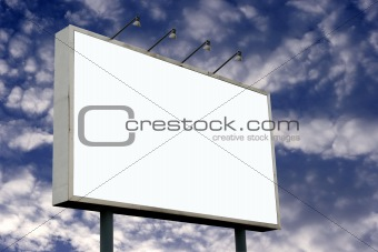 Blank Billboard and Pluffy Clouds