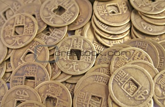 Ancient Chinese Coins in a Pile