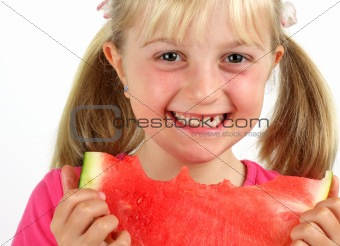 Smiling Girl Eating Melon