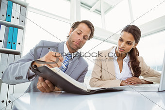 Businessman and secretary looking at diary in office