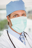 Close up portrait of doctor wearing surgical mask