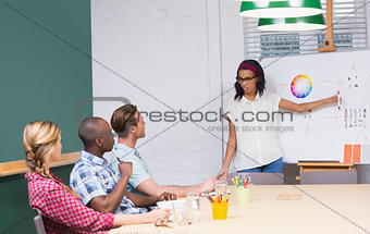 Casual businesswoman giving presentation to colleagues