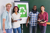 Creative colleagues with recycling symbol on whiteboard