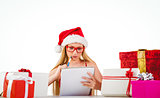 Festive blonde writing her christmas list