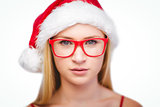 Festive blonde wearing hipster glasses