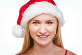 Festive blonde smiling at camera